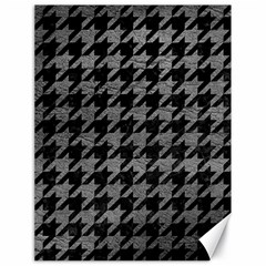 Houndstooth1 Black Marble & Gray Leather Canvas 18  X 24