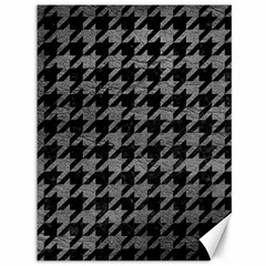 Houndstooth1 Black Marble & Gray Leather Canvas 36  X 48