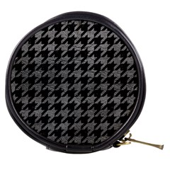 Houndstooth1 Black Marble & Gray Leather Mini Makeup Bags
