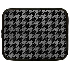 Houndstooth1 Black Marble & Gray Leather Netbook Case (xxl)