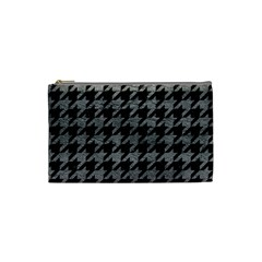 Houndstooth1 Black Marble & Gray Leather Cosmetic Bag (small)