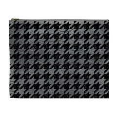 Houndstooth1 Black Marble & Gray Leather Cosmetic Bag (xl)