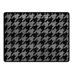 Houndstooth1 Black Marble & Gray Leather Fleece Blanket (small)