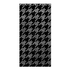 Houndstooth1 Black Marble & Gray Leather Shower Curtain 36  X 72  (stall)