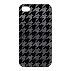 Houndstooth1 Black Marble & Gray Leather Apple Iphone 4/4s Hardshell Case