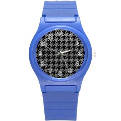 Houndstooth1 Black Marble & Gray Leather Round Plastic Sport Watch (s)
