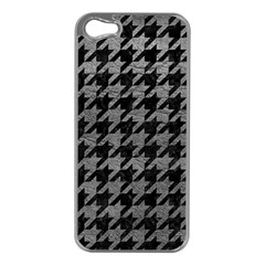 Houndstooth1 Black Marble & Gray Leather Apple Iphone 5 Case (silver)