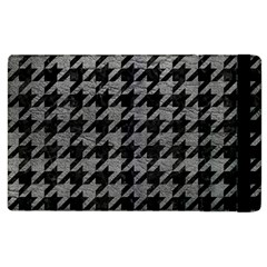 Houndstooth1 Black Marble & Gray Leather Apple Ipad 2 Flip Case