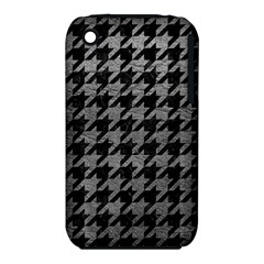 Houndstooth1 Black Marble & Gray Leather Iphone 3s/3gs