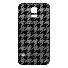 Houndstooth1 Black Marble & Gray Leather Samsung Galaxy S5 Back Case (white)