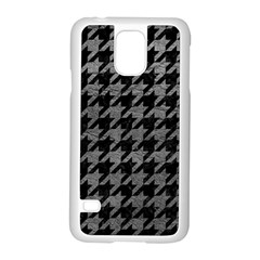 Houndstooth1 Black Marble & Gray Leather Samsung Galaxy S5 Case (white)
