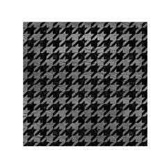 Houndstooth1 Black Marble & Gray Leather Small Satin Scarf (square)