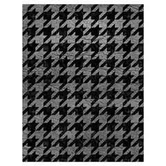 Houndstooth1 Black Marble & Gray Leather Drawstring Bag (large)