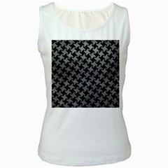 Houndstooth2 Black Marble & Gray Leather Women s White Tank Top