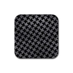 Houndstooth2 Black Marble & Gray Leather Rubber Square Coaster (4 Pack)