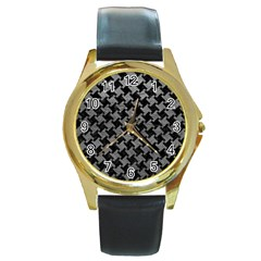 Houndstooth2 Black Marble & Gray Leather Round Gold Metal Watch
