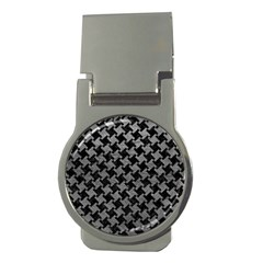 Houndstooth2 Black Marble & Gray Leather Money Clips (round)