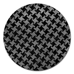 Houndstooth2 Black Marble & Gray Leather Magnet 5  (round)