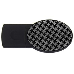 Houndstooth2 Black Marble & Gray Leather Usb Flash Drive Oval (2 Gb)