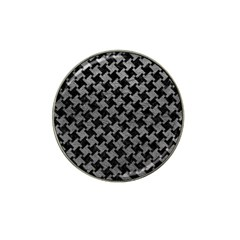 Houndstooth2 Black Marble & Gray Leather Hat Clip Ball Marker (10 Pack)
