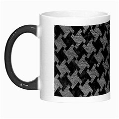 Houndstooth2 Black Marble & Gray Leather Morph Mugs
