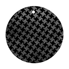 Houndstooth2 Black Marble & Gray Leather Round Ornament (two Sides)