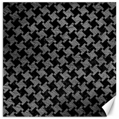 Houndstooth2 Black Marble & Gray Leather Canvas 20  X 20