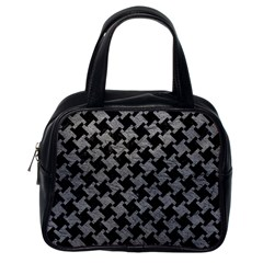 Houndstooth2 Black Marble & Gray Leather Classic Handbags (one Side)