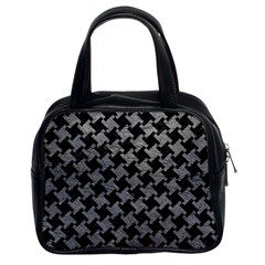 Houndstooth2 Black Marble & Gray Leather Classic Handbags (2 Sides)
