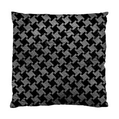 Houndstooth2 Black Marble & Gray Leather Standard Cushion Case (two Sides)