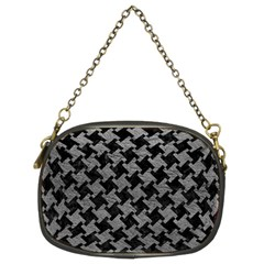 Houndstooth2 Black Marble & Gray Leather Chain Purses (two Sides)