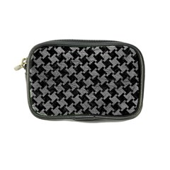 Houndstooth2 Black Marble & Gray Leather Coin Purse