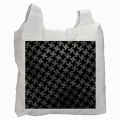 Houndstooth2 Black Marble & Gray Leather Recycle Bag (one Side)