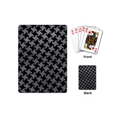 Houndstooth2 Black Marble & Gray Leather Playing Cards (mini)