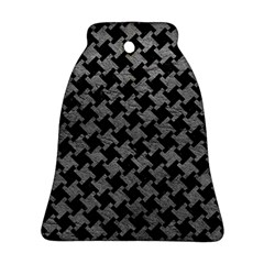 Houndstooth2 Black Marble & Gray Leather Ornament (bell)
