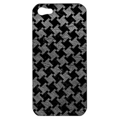 Houndstooth2 Black Marble & Gray Leather Apple Iphone 5 Hardshell Case