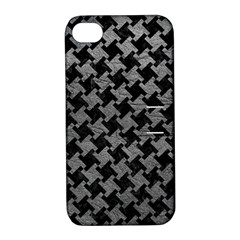 Houndstooth2 Black Marble & Gray Leather Apple Iphone 4/4s Hardshell Case With Stand