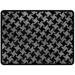 Houndstooth2 Black Marble & Gray Leather Double Sided Fleece Blanket (large)