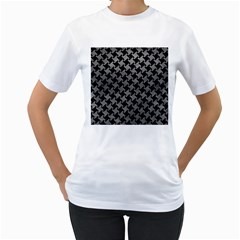 Houndstooth2 Black Marble & Gray Leather Women s T Shirt (white)