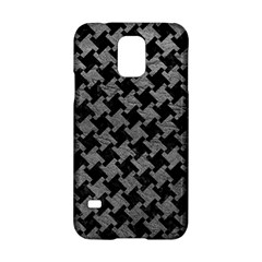 Houndstooth2 Black Marble & Gray Leather Samsung Galaxy S5 Hardshell Case