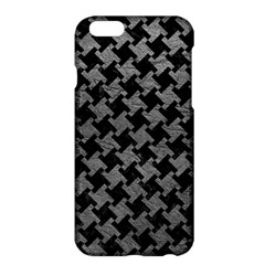 Houndstooth2 Black Marble & Gray Leather Apple Iphone 6 Plus/6s Plus Hardshell Case