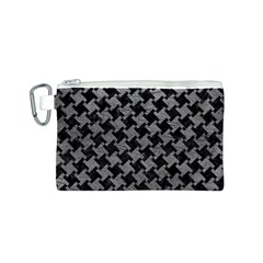 Houndstooth2 Black Marble & Gray Leather Canvas Cosmetic Bag (s)