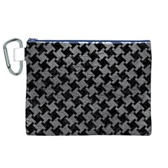 Houndstooth2 Black Marble & Gray Leather Canvas Cosmetic Bag (xl)