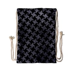 Houndstooth2 Black Marble & Gray Leather Drawstring Bag (small)