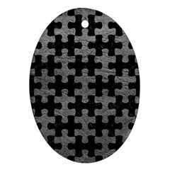 Puzzle1 Black Marble & Gray Leather Ornament (oval)