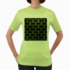 Puzzle1 Black Marble & Gray Leather Women s Green T Shirt