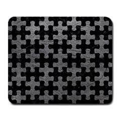 Puzzle1 Black Marble & Gray Leather Large Mousepads