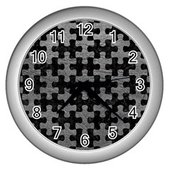 Puzzle1 Black Marble & Gray Leather Wall Clocks (silver)