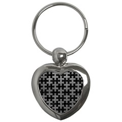 Puzzle1 Black Marble & Gray Leather Key Chains (heart)