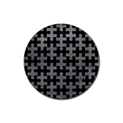 Puzzle1 Black Marble & Gray Leather Rubber Coaster (round)